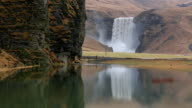 MS Shot of Skogafoss Falls which reflected in lagoon / Iceland