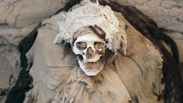 CU Shot of skull at Chauchilla cemetery / South Of Peru, Nazca, Peru