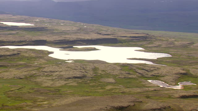 MS AERIAL Shot of small lake  / Iceland