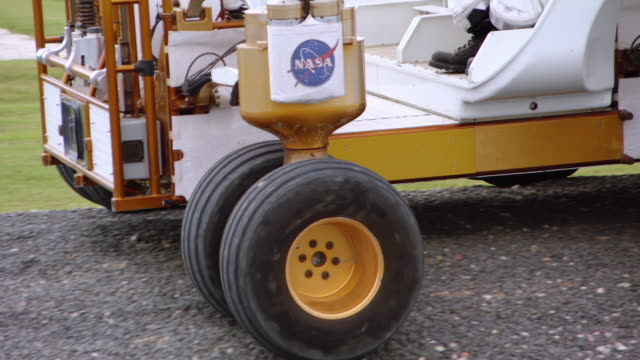 WS Shot of Small Pressurized Rover is tested in uneven terrain near NASA Johnson Space Center / Houston, Texas, United States