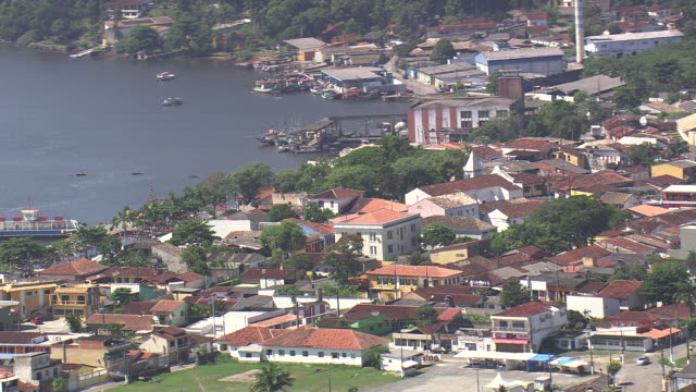 MS AERIAL Shot of Small Town with lake / Sao Paulo, Brazil
