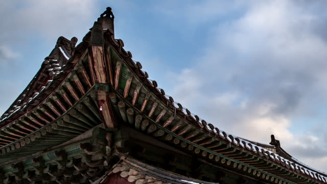 CU T/L Shot of Snow covered tiled roof in Changgyeonggung Royal Palace / Seoul, South Korea
