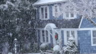 MS Shot of snow falling on trees and rural home / High Bridge, New Jersey, United States