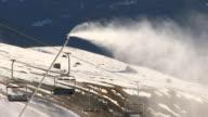 MS Shot of snow guns at Passo Gardena / South Tyrol, Alto Adige, Italy