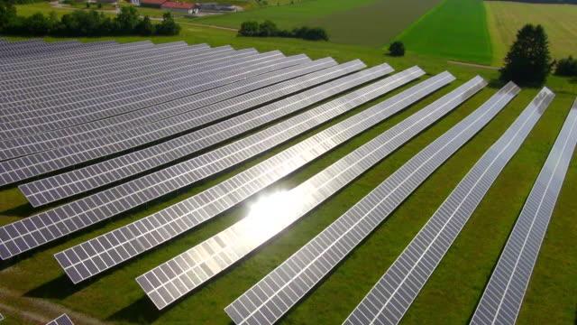 MS AERIAL Shot of solar power plant / Munich, Bavaria, Germany