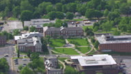 WS AERIAL Shot of Soldiers Memorial Plaza at Lincoln University / Jefferson City, Missouri, United States