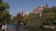 MS Shot of Spiegelgracht canal / Amsterdam, Northern Holland, Netherlands