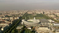 WS AERIAL ZI TD Shot of sports stadium in city / Piedmont, France