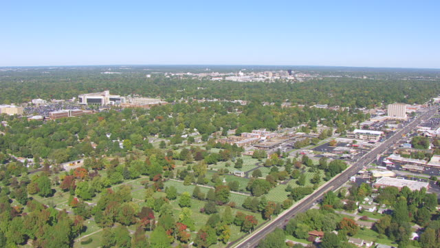 WS AERIAL Shot of Springfield National Cemetery / Springfield, Missouri, United States