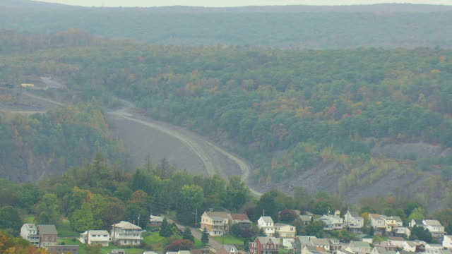 MS AERIAL Shot of St Clair mining town in hills in Schuylkill County / Pennsylvania, United States