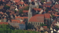 MS AERIAL Shot of St. Georges collegiate church and houses at Tubingen / Germany