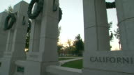CU PAN Shot of state pillars at World War II Memorial / Washington, District of Columbia, United States