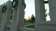 CU PAN Shot of state pillars at World War II Memorial / Washington, District of Columbia, United States