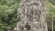 CU Shot of statue at Angkor Thom / Siem Reap, Ankor, Cambodia