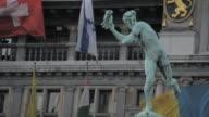 CU Shot of statue with town hall / Antwerp, Belgium