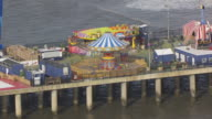 MS AERIAL Shot of Steel Pier / Atlantic City, New Jersey, United States