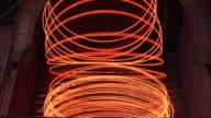 MS Shot of steel wire production at steel mill / Volklingen, Saarland, Germany