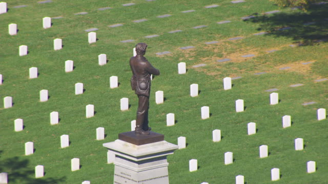 MS AERIAL DS Shot of Sterling Price Monument at Springfield National Cemetery / Springfield, Missouri, United States