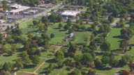WS AERIAL ZI TD Shot of Sterling Price Monument at Springfield National Cemetery / Springfield, Missouri, United States