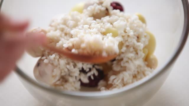 ECU Shot of stirring ingredients to making multigrain rice / Seoul, South Korea