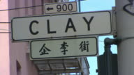 CU LA Shot of store signs in busy San Francisco Chinatown street / San Francisco, California, United States
