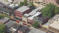 MS AERIAL Shot of stores on Main Street of Historic District / St Charles, Missouri, United States