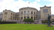 MS Shot of Stortinget, seat of Norway Parliament / Oslo, Norway