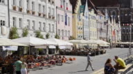 MS Shot of Street Cafes in decorated Old town / Landshut, Bavaria, Germany
