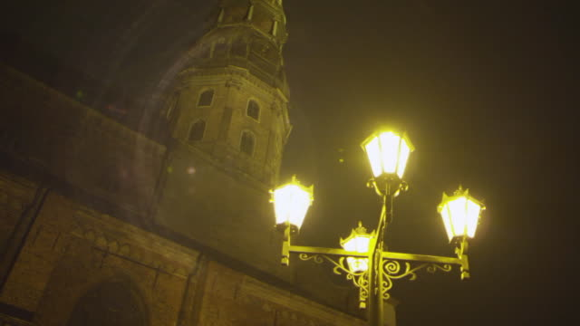 MS LA R/F Shot of Street Lamps and Old Building / Riga, Latvia