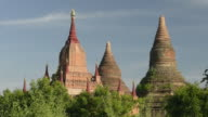 MS LA Shot of Stupas of ancient temples at Pagodas field of Bagan / Bagan, Mandalay Division, Myanmar