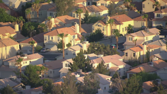 MS AERIAL Shot of suburban neighborhood with identical houses and streets with cars and tall palm trees in morning / Las Vegas, Nevada, United States