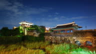 MS T/L Shot of Suwon Hwaseong Castles Banghwasuryujeong Building at night (UNESCO Heritage) / Suwon, Kyonggi-Do Province, South Korea