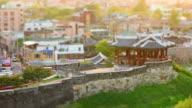 MS T/L Shot of Suwon Hwaseong Castles Banghwasuryujeong Building (UNESCO Heritage) / Suwon, Gyeonggi-do, South Korea