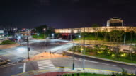 MS T/L Shot of Suwon Hwaseong Dongbukgongsimdon Building at night (UNESCO) / Suwon, Kyonggi-Do Province, South Korea