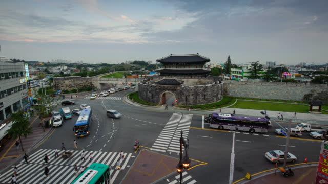 MS T/L Shot of Suwon Hwasung Castle's Gwanghwamun Gate at night (UNESCO Heritage) / Suwon, Kyonggi-Do Province, South Korea