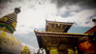 MS T/L Shot of swayambhunath temple / Kathmandu, Nepal