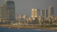 MS PAN Shot of tel aviv skyline by mediterranean sea / Jaffa, Tel, Aviv Israel
