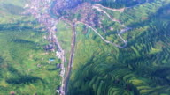 WS AERIAL shot of terrace field nearby Xijiang Qianhu Miao village in morning,Guizhou,China.