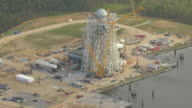 MS AERIAL Shot of test stand at Stennis Space Center NASA rocket testing facility / Mississippi, United States