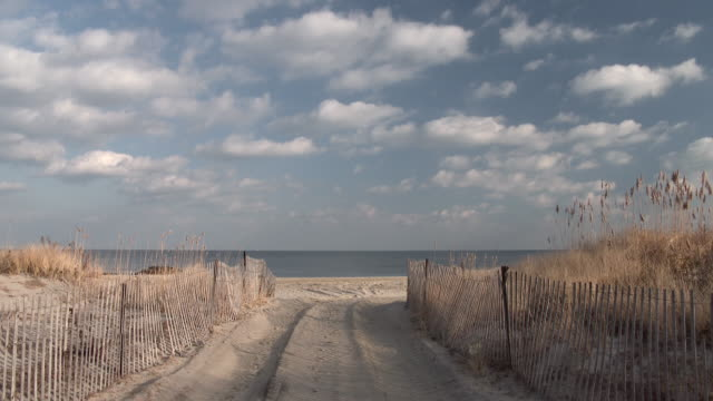 Shot of the entrance to a beach in Sandy Hook, New Jersey.