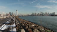 Shot of the view of downtown Manhattan along the water from Liberty State Park in Jersey City. World Trade Center can be seen clearly