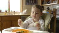 MS Shot of Toddler in high chair eating slice of cheese / Chelsea, Michigan, United States