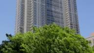 MS TU Shot of Tokyo Metropolitan Government Building behind waving tree / Shinjuku ku, Tokyo, Japan