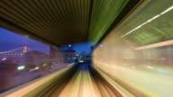 MS T/L POV Shot of Tokyo train moving / Tokyo, Japan