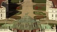 CU AERIAL ZO Shot of top part of Palazzo Stupinigi royal house / Piedmont, France