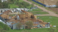 MS AERIAL TS ZO Shot of Tornado damaged building / Edgar, Nebraska, United States