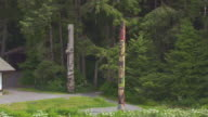 CU AERIAL PAN Shot of totem poles at Sitka National Historical Park / Sitka, Alaska, United States