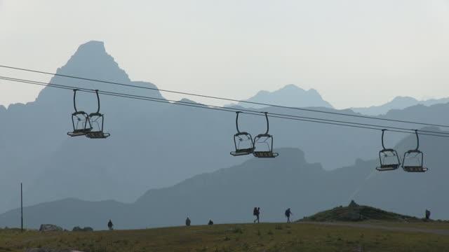 MS Shot of tourist roaming near chair lift at Mount Nebelhorn / Oberstdorf, Bavaria, Germany