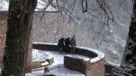 WS Shot of tourist viewing loop of river Saar in Winter / Orscholz, Saarland, Germany
