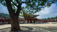 MS T/L Shot of Tourists at Suwon Hwaseong Castle (UNESCO Heritage) / Suwon, Kyonggi-Do Province, South Korea